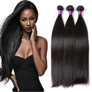 Vison droit brésilien 3pcs / pc de l'homme Virgin Hair Tissages / lot Double Trames naturel Couleur Noir Remy prolongements de cheveux humains