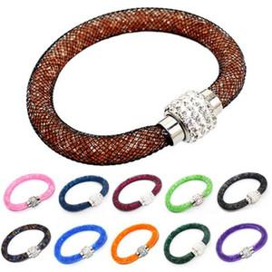 9 Farben Magnetic Mesh Armbänder Strass Shambhala Diamant Mode Kristall Magnetverschluss Frauen Armband Armreif Manschette Armband Schmuck
