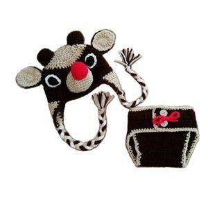 Neonato Rudolph Renna Costume, Handmade Crochet Baby Boy Girl Moose Animal Hat e Pannolino Copertina Set, Costume da Babbo Natale Foto Prop