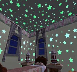 100pcs 3D 별 빛나는 어둠의 형광등 플라스틱 벽 스티커 홈 장식 데칼 벽지 장식 특별 한 축제