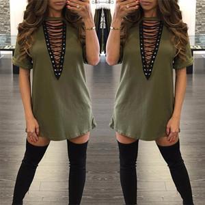 2017 sexy algodón más tamaño vestidos de manga corta otoño verano ocasional suelto v cuello mini camiseta vestido ropa de mujer envío gratis