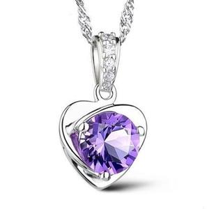 Artículos de plata 925 joyas de cristal elementos swarovski pendientes declaración collares rose corazón de la boda de la vendimia de la manera infinita