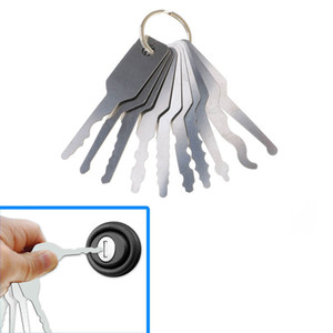 10PCS Jiggler مفاتيح قفل اختيار مجموعة مزدوجة من جانب لقفل اختيار أدوات الأقفال السيارات افتتاح مجموعة أدوات السيارات أداة الأقفال