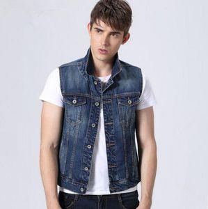 2019 men vest denim vests men's spring cotton slim jeans jacket waistcoat sleeveless waistcoat summer denim jackets outerwear