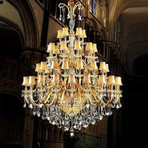 كبير كريستال الثريا مع غطاء النسيج الذهب فندق كبير الثريا الزجاج ذراع كبير الحديثة فندق مأدبة قاعة الدرج الثريا الكريستال