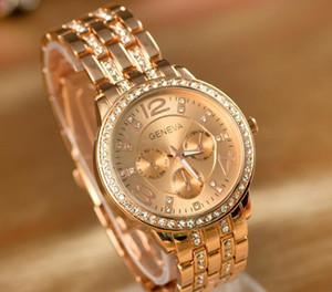Ginebra cuarzo del acero inoxidable de metal relojes de pulsera Hombres Mujeres unisex de los relojes de lujo de Ginebra de cristal relojes de oro
