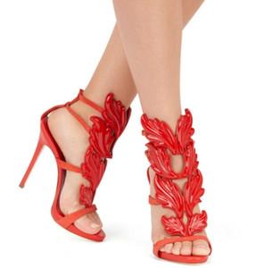 Gladiadores Mujer Alas de ala Sandalias Zapatos de verano Zapatos de fiesta de cuero genuino Hebilla de aguja Tacones altos Bombas Marca 12cm
