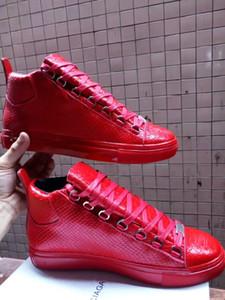 [Con scatola] Fashion Arena Sneaker Shoes Moda Kanye West Red Snake Uomo in pelle Zapatos Hombre Casual Scarpe da ginnastica Party Dress Shoes 39-46