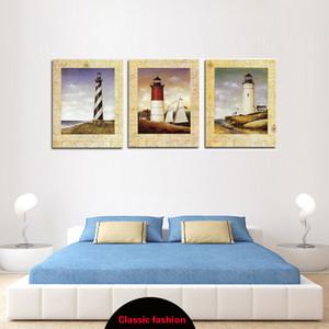 Klasik El-boyalı Deniz Feneri ve Harita Çerçevesiz Boyama