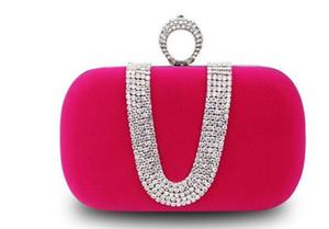 أعلى بيع الأزياء النسائية الماس يو شكل الماس فو الجلد المدبوغ الدائري المخملية مساء حقيبة فاخرة فنجر الفاصل محفظة الزفاف مع سلسلة