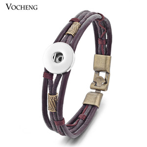 Wholesale-10pcs lot Wholesale Vocheng Ginger Snap 18mm Bracelet Cow Leather Jewelry NN-365*10 Free Shipping