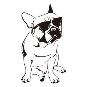 Забавные Французский Бульдог Таблички Детская комната Виниловые наклейки Собака с солнцезащитные очки Cute Bedroom Обоев Home Decor DIY