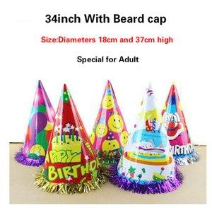 Sakal kağıt ile 20g 34 inç doğum günü şapkası kap performans sahne yetişkin kullanımı parti Süslemeleri Şenlikli Parti Malzemeleri toptan