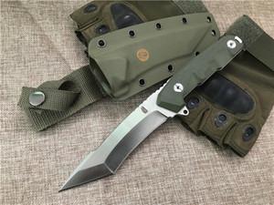 Cuchillo recto de supervivencia de calidad superior DC53 60HRC Tanto Acabado satinado Cuchilla verde G10 Mango Cuchillos de hoja fija con Kydex