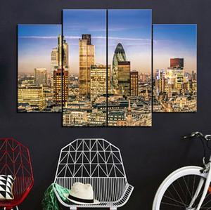 Gece Çerçevesiz Manzara Resim 4adet yılında Blue Sky Altında City of London (No Frame) Printd Tuval üzerine Wall Art HD Baskı Resim pictur