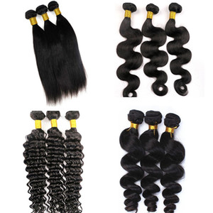 Paquetes de cabello brasileño virgen visón El cabello humano teje tramas de 8-34 pulgadas sin procesar Extensiones de cabello a granel virgen peruana de la India de Mongolia Remy