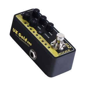 Mooer Micro Digital Preamp 002 UK Gold 900 Delay and Reverb Effects Guitar Pedal with gold pedal connector and MOOER knob