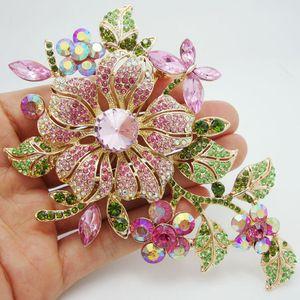 New Elegant Pink Spilla Pin Rhinestone Crystal Flower Romantico Sposa Sposa Damigella d'onore Strass Gioielli Spilla Pin
