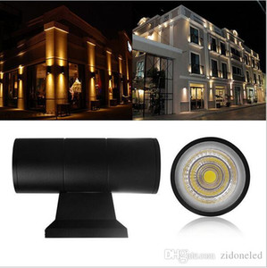 Arriba Abajo Dual-Head iluminación exterior Lámparas de pared del cilindro COB 6W 10W pared de luz LED IP65 resistente al agua Porche enciende AC 85-265V