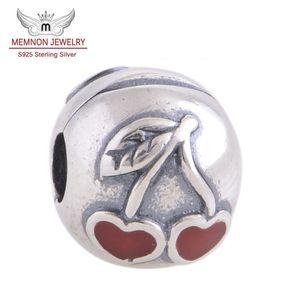 Memnon Jewery Red Cherry Modello Lock Clip Core Stopper Perline fascino Fai da te Accessori fit 925 Sterling Silver braccialetto creazione di gioielli KT072-N