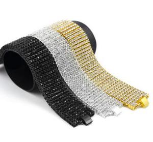 """Мужская 8 строк золото прозрачный кристалл CZ обледенел хип-хоп Bling браслет 8 """" 3 цвета"""