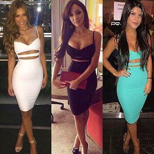 Desgaste 2016 vestidos de las mujeres Vestidos de verano sin mangas bodycon vestido de algodón blanco Negro Midi lápiz del vendaje del partido atractivo del vestido del club 2020