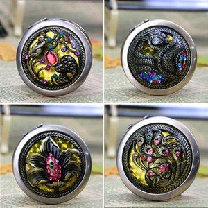 Classic Mosaic Flower Specchio rotondo Cannella Pocket Specchio compatto cosmetico Strumenti per il trucco a due lati Bomboniere di alta qualità