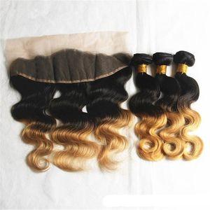Ombre İnsan Saç Uzantıları Bakire Peru Üç Ton Kahverengi Sarışın 1B 4 27 # Ombre Saç Dokuma Paketler Kulak için Kulak Dantel Frontal ile