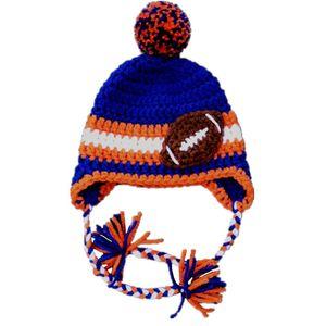 Fait main Tricot Crochet Bébé Garçon Fille Équipe De Football Rayé Chapeau Pompon Hat Infant Toddler Photographie Prop Douche Cadeaux