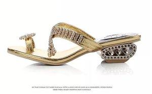 Envío gratis 2017 sandalias de las mujeres del verano zapatillas partido Chunky tacones altos mujeres Rhinestone oro plata señoras zapatos