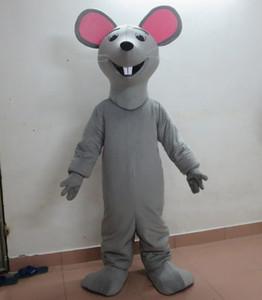 100% fotos reales de traje de mascota de rata felpa adulto gris feliz traje de mascota de ratón para la venta