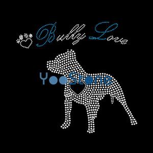 New Hotsale I Love Bulldogs Iron On Rhinestone Transfer Hotfix Motif Wholesale For Clothing