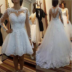 Jewel Neck 2 in 1 Romantic Wedding Dress Pearls Long Sleeves Wedding Gowns Sexy See Through Back China Bridal Gowns