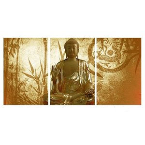 """Framed 3PCS Set ARTLAND Modern Landscape """"Yellow Color Buddha""""genuine Hand Painted Home Wall Decor Art Oil Painting On Canvas,Multi sizes 11"""