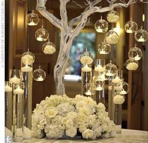 12 Unids / lote Colgante Tealight Holder Glass ORB Terrario Florero Glass Candle Holder Candelabro Wedding Bar Decor