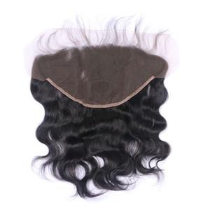 13x6 Ohr zu Ohr Spitze Frontal Verschluss mit gebleichtem Knoten Natürlicher Farbe 1B-brasilianische Körper-Wellen-Menschen Remy Haar-Verlängerungen