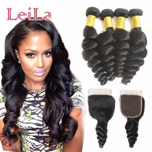 Brazilian Virgin Hair Loose Wave 4 Bundles With Lace Closure Human Hair Natural Color Free Middle Three part Lace Closure 5 Pieces lot