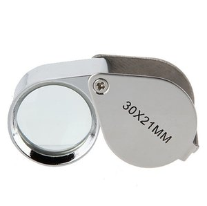 Metal folding portable hand-held glass lens jewelry identification magnifying glass