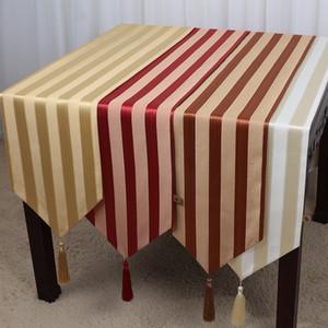 New Stripe Lange Leinen Weihnachten Tischläufer Baumwolle Tischdecke Rechteckigen Esstisch Matte Moderne Einfache Kaffeepads 230x33 cm