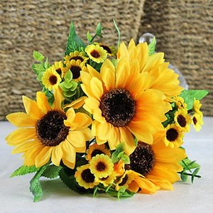 Оптово Красивые декоративные цветы 7 глав Поддельный Sunflower Искусственный шелк цветок букет Главная Свадьба Цветочный декор 764H