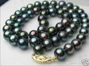 """Charming!7-8mm Black Tahitian Pearl Necklace 18"""""""