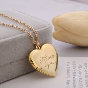 I Love You Locket Necklace Gold Chain Heart Secret Message living memory Lockets pendant women girls necklaces fashion jewelry will and sandy