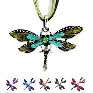 Designer-Weinlese-Libelle-hängende Halskette für Frauen-Halskette Rhinestone-Emaille-Wachs-Seil-Ketten-Kragen-Statement Ketten Schmuck