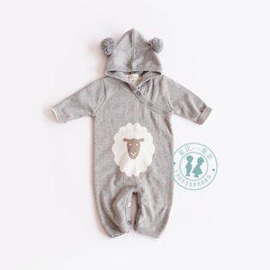 2018 детские дети альпинистские ползунки маленькая овечка дизайн с длинным рукавом свитер ползунки бутик для малышей 100% хлопок детские двухэтажные балахон ползунки