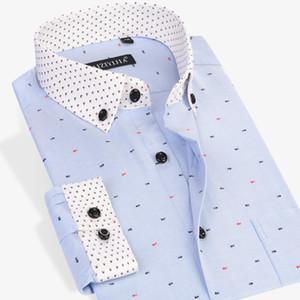 도매 - CAIZIYIIA 2017 남자 생선 뼈 인쇄 긴 소매 드레스 셔츠 패치 워크 커프스 컴포트 소프트 캐주얼 슬림 - 맞는 단추 다운 셔츠