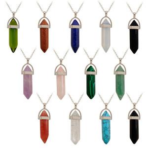 Al por mayor de cristal de cuarzo curación Punto Chakra Gem la gota colgante de piedra para DIY collar 32 * 8 mm de piedra natural colgante de bala