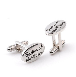 Pai manguito links para homens smoking tuxedo abotoaduras de prata chapeado oval pai do noivo camisa francesa cuff links casamento presente de Natal