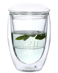 Borosilicate limpide en cristal de verre à double couche résistant à la chaleur de tasse de thé avec le couvercle d'infuseur, tasse de thé, 350ml, 450ml