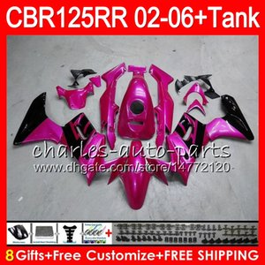 Body + Tank Per HONDA CBR125 top Pearl pink R CBR125R 02 03 04 05 06 80NO6 CBR 125R 125RR CBR125RR 2002 2003 2004 2005 2006 Carena 23 Colori