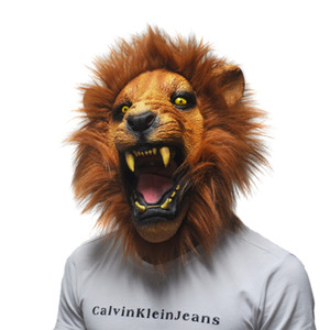 Wholesale-Halloween Props Adult Angry Lion Head Masks Animal Full Latex Masquerade Birthday Party Rubber Silicone Face Mask Fancy Dress